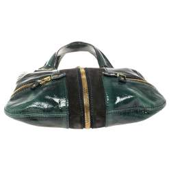 Jimmy Choo Dark Green Patent Leather And Suede Small Mona Tote
