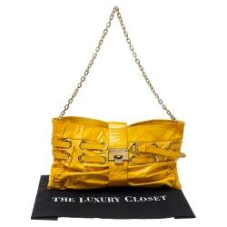 Jimmy Choo Yellow Patent Leather Rio Shoulder Bag