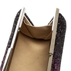 Jimmy Choo Purple Coarse Glitter Trinket Clutch