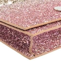 Jimmy Choo Pink Coarse Glitter Florence Chain Clutch
