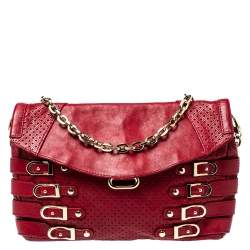 Jimmy Choo Red Perforated Leather Brix Convertible Clutch
