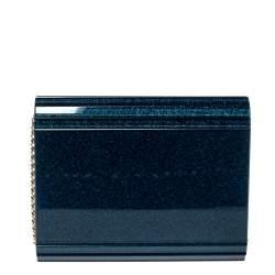 Jimmy Choo Navy Blue Shimmer Acrylic Candy Clutch Bag