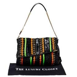 Jimmy Choo Multicolor Woven Python/Nylon/Leather and Straw Shoulder Bag