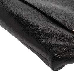 Jimmy Choo Black Glossy Pebbled Leather Allison Clutch