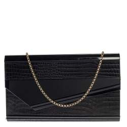 Jimmy Choo Black Acrylic and Croc Embossed Candy Chain Clutch