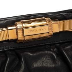 Jimmy Choo Black Pleated Leather Logo Metal Stretch Clutch
