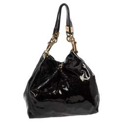 Jimmy Choo Black Patent Leather Lohla Jayne Tote