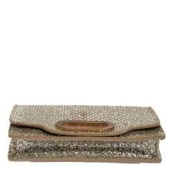 Jimmy Choo Metallic Silver Glittered Fabric Tilsa Strap Wallet