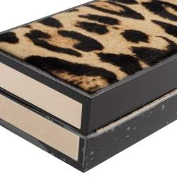 Jimmy Choo Beige/Black Leopard Prin Pony Hair Box Clutch