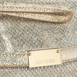 Jimmy Choo Gold Glitter and Leather Zeta Clutch