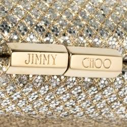 Jimmy Choo Gold Glitter Twill Tube Clutch