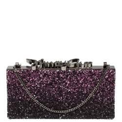 Jimmy Choo Purple Coarse Glitter Celeste Crystal Logo Clasp Clutch