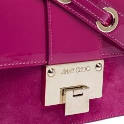 Jimmy Choo Fuchsia Patent Leather and Suede Rebel Top Handle Bag