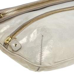 Jimmy Choo Gold Shimmer Leather Mave Foldover Clutch
