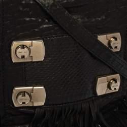 Jimmy Choo Black Grain Leather and Snake Adele Fringe Crossbody Bag