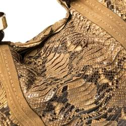 Jimmy Choo Beige/Brown Python and Suede Saba Hobo