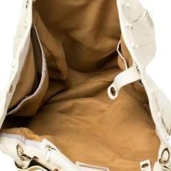 Jimmy Choo White Leather and Snakeskin Trim Lohla Jane Tote