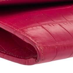 Jimmy Choo Fuchsia Croc Embossed Leather Reese Clutch