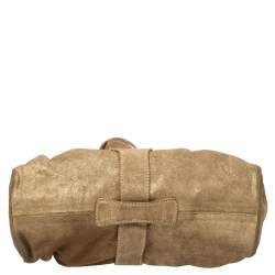Jimmy Choo Gold Shimmer Suede Ramona Shoulder Bag