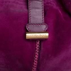 Jimmy Choo Purple Suede, Leather and Snakeskin Alex Hobo