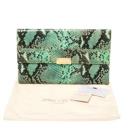 Jimmy Choo Sea Green Python Embossed Leather Reese Clutch