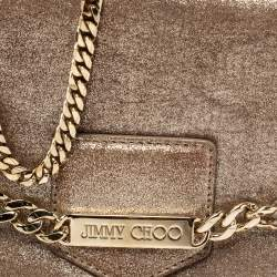Jimmy Choo Metallic Gold Shimmer Leather Shadow Chain Bag