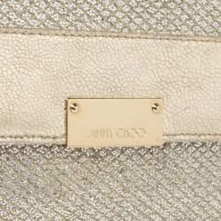 Jimmy Choo Metallic Gold Leather and Glitter Reese Clutch