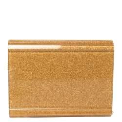 Jimmy Choo Gold Shimmer Acrylic Candy Chain Clutch