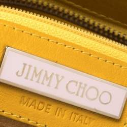 Jimmy Choo Mustard Leather Oversize Star Fringed Chain Clutch