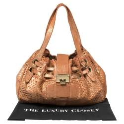 Jimmy Choo Rusty Orange/Gold Shimmer Suede Riki Perforated Tote