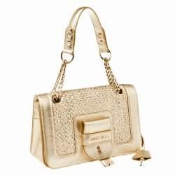 Jimmy Choo Gold Woven Leather Padlock Flap Shoulder Bag