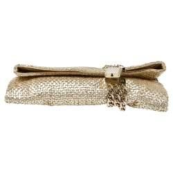 Jimmy Choo Gold Woven Leather Chandra Clutch
