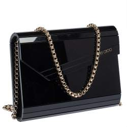 Jimmy Choo Black Acrylic and Leather Candy Chain Clutch