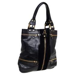 Jimmy Choo Black Leather and Suede Large Mona Tote