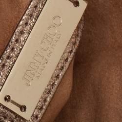 Jimmy Choo Gold Glitter And Leather Rebel Clutch