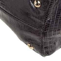 Jimmy Choo Metallic Grey Snakeskin Embossed Leather Rhea Tote