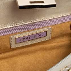 Jimmy Choo Light Cream Shimmer Suede Buckle Clutch