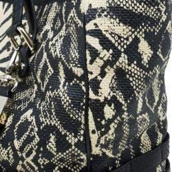 Jimmy Choo Black/Beige Printed Raffia Babeth Shopper Tote