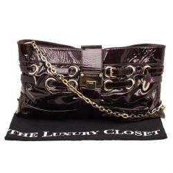 Jimmy Choo Black/Red Patent Leather Rio Clutch Bag