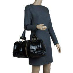 Jimmy Choo Black Patent and Suede Leather Large Marla Bag
