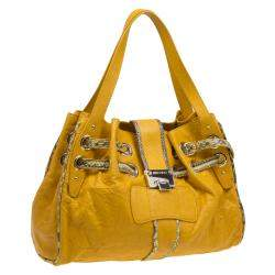 Jimmy Choo Yellow Leather with Python Trim Riki Tote