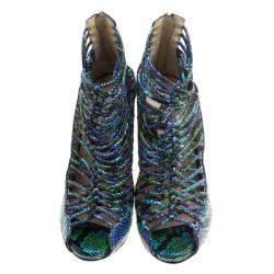 Jimmy Choo Two Tone Python Leather Quaker Elaphe Open Toe Sandals Size 39.5