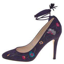 Jimmy Choo Purple Floral Embroidered Suede Chelan Tie Up Pumps Size 40