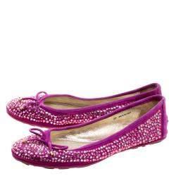 Jimmy Choo Purple Crystal Embellished Satin Weber Ballet Flats Size 37