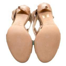 Jimmy Choo Beige Python Corsica Strappy Back Zip Sandals Size 37.5