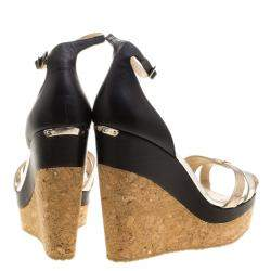 Jimmy Choo Metallic Leather and Cork Ankle Strap Wedges Size 42