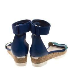 Jimmy Choo Blue Watersnake Neat Ankle Strap Cork Wedge Platform Sandals Size 40