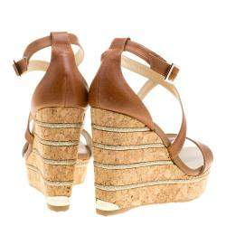 Jimmy Choo Brown Leather Portia Cork Wedge Sandals Size 41