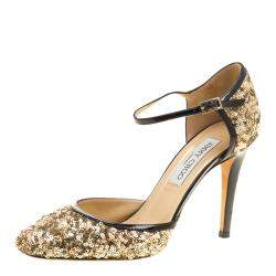 Jimmy Choo Metallic Gold Sequin and Leather Tessa Ankle Strap Sandals Size 36.5
