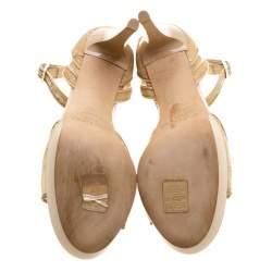 Jimmy Choo Beige Lace Kayden Ankle Strap Platform Sandals Size 38